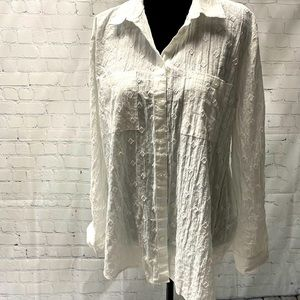 LOFT outlet button up textured white top